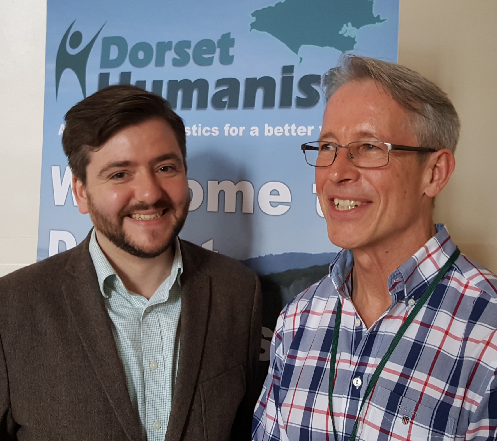 Andrew Copson, Chief Executive of Humanists UK, and David Warden, Chairman of Dorset Humanists
