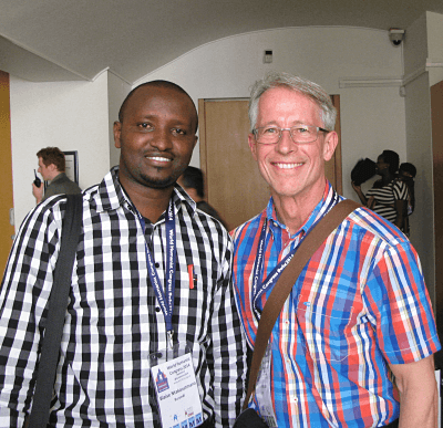 David Warden with Blaise Ntakarutimana from Burundi, at the World Humanist Congress in Oxford