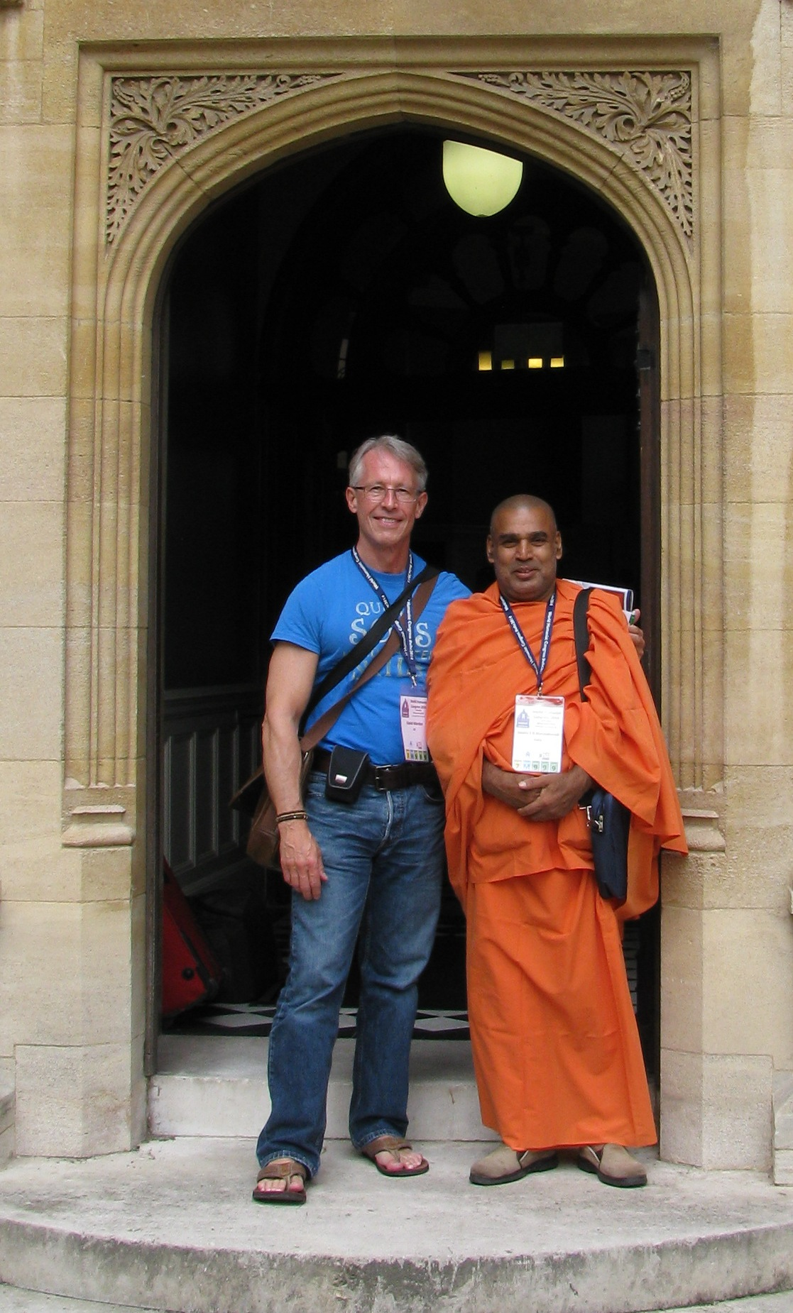 David Warden and Swami Manavatavadi at the World Humanist Congress in Oxford. Swamiji, who died in 2018, was the director of a humanist school and institute in northern India. He was also a leading member of the Federation of Indian Rationalist Associations.