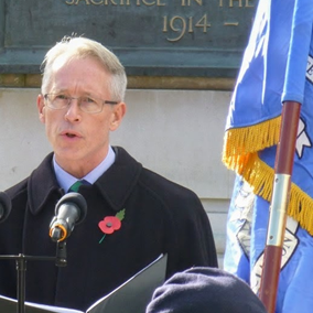 David Warden, Chairman of Dorset Humanists, speaks at the Bournemouth Remembrance Service in November